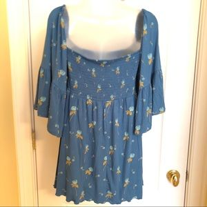Free People Top Blue Off/ On Shoulder Tunic